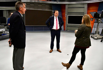 11/30/2018 Mike Orazzi | Staff ESPN Vice President of Communications Mike Soltys and Alexandra Carlson talk with U.S. Senator Chris Murphy (center) during a tour and  visit at ESPN headquarters in Bristol Friday.