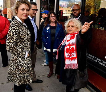 11/3/2018 Mike Orazzi | Staff Yvonne Krosky talks with Sue Hatfield, Manny Santos, Sue Chapman and Tremell Collins with several other GOP hopefuls during a visit to New Britain's Little Poland Saturday.