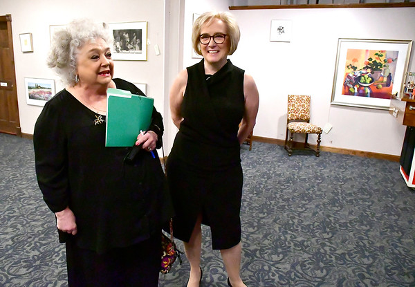 11/3/2018 Mike Orazzi | Staff Executive director of the New England Carousel Museum Louise DeMars talks with this years ACE Award recipient for art, culture and entertainment,newly retired Arts Administrator Lori Meusel Eschner Saturday night at the New England Carousel Museum.