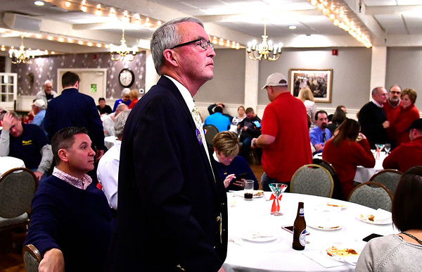 11/6/2018 Mike Orazzi | Staff Dave Rackliffe while at Nuchie's for election results Tuesday night.