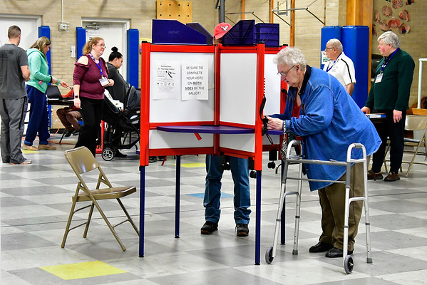 11/6/2018 Mike Orazzi | Staff Marianna Zagrodnik while voting at the Edgewood School in Bristol Tuesday afternoon.