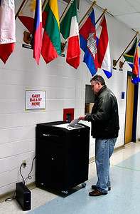 11/6/2018 Mike Orazzi | Staff Lewis Day  while voting at Bristol Eastern High School Tuesday afternoon.
