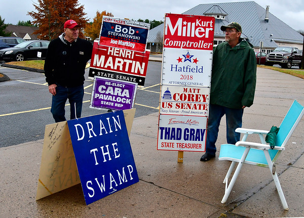 11/6/2018 Mike Orazzi | Staff Jake Carrier and Ernest Szydlo while outside the polls at the Edgewood School in Bristol Tuesday afternoon.