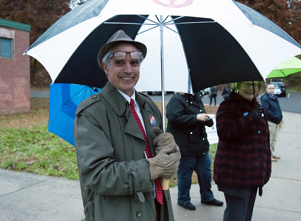11/06/18 Wesley Bunnell | Staff Rep. Peter Tercyak smiles as he stands outside of the polling location at Pulaski Middle School on Tuesday afternoon.