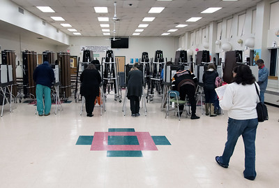 11/06/18  Wesley Bunnell | Staff  Voting booths being used at a busy polling location at Pulaski Middle School on Tuesday afternoon.