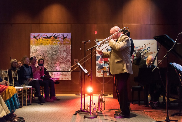 11/08/18 Wesley Bunnell | Staff The New Britain Museum of American Art held a special event Where Art Meets Music: Reconstructing the Rhythms of Black Histories through Contemporary Art on Thursday night. The presentation was narrated by Frank Mitchell and featured live music for the attendees. Shown are Steve Davis on trombone, Joshua Bruneau on trumpet and Rick Germanson on Piano.