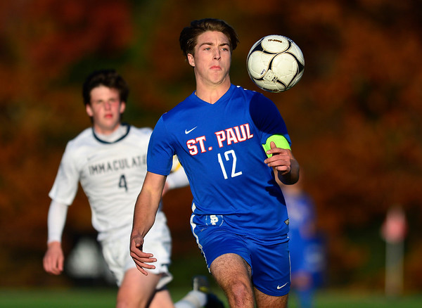 11/8/2018 Mike Orazzi | Staff St. Paul Catholic High School's Adam Van Linter (12) during the Class S Second Round Boys Soccer Tournament held at the Farmington Sports Arena Thursday.