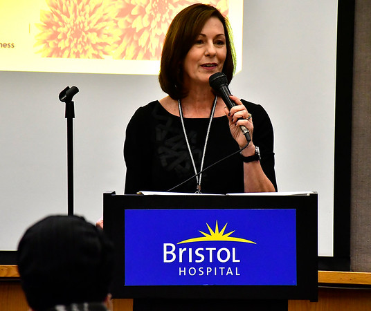 11/8/2018 Mike Orazzi | Staff Mary Lynn Gagnon, Executive Director of Bristol Hospital Development Foundation and a cancer survivor during a cancer survivors program held at Bristol Hospital Thursday evening.