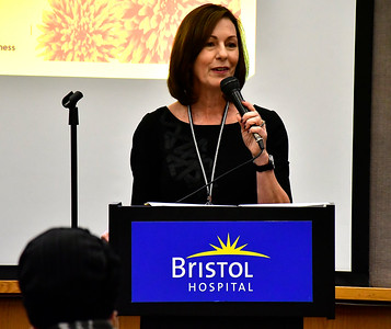 11/8/2018 Mike Orazzi | Staff Mary Lynn Gagnon, Executive Director of Bristol Hospital Development Foundation and a cancer survivor during a cancer survivors program held at Bristol Hospital Thursday evening.