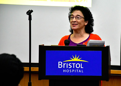 11/8/2018 Mike Orazzi | Staff Sophie Whitlock, Certified Registered Nurse in Hospice and Palliative Care of Bristol Hospital Home and Palliative Care Programs, during a cancer survivors program held at Bristol Hospital Thursday evening.
