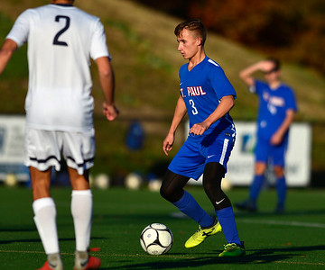 11/8/2018 Mike Orazzi | Staff St. Paul Catholic High School's Ethan Rembish (3) during the Class S Second Round Boys Soccer Tournament held at the Farmington Sports Arena Thursday.