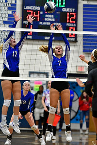 11/8/2018 Mike Orazzi | Staff Bristol Eastern High School's Gabriella Nozzolillo (17) and Zoe Lowe (7) during the Class L Second Round State Girls Volleyball Tournament in Bristol Thursday night.