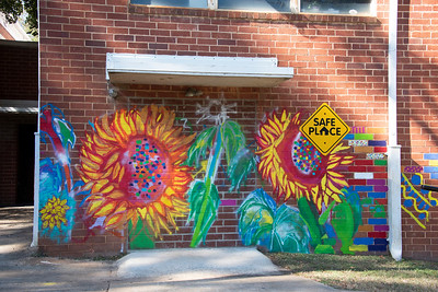 Members of the Alpha Kappa Alpha sorority at Davidson College spent a half-day last weekend painting a mural on an outside wall of the Ada Jenkins Center. (Photo by Bill Giduz)