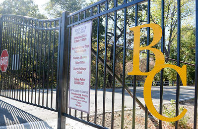 The Butte College entrance gates remain locked due to power outages Tuesday in Butte Valley. (Matt Bates -- Enterprise-Record)