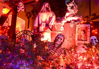 Condos are adorned with Halloween decorations on Hutchinson Street Wednesday in Chico. The neighborhood residents welcome visitors and expect have over 1,000 people filter through the street on Halloween. (Matt Bates -- Enterprise-Record)