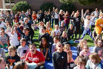 The crowd gets pumped up before the beginning of the annual pumpkin drop at Chico State on Thursday in Chico. (Matt Bates -- Enterprise-Record)