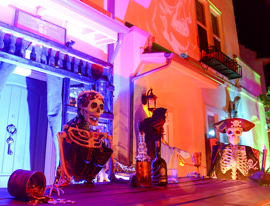 Condos are adorned with Halloween decoration on Hutchinson Street on Wednesday in Chico. (Matt Bates -- Enterprise-Record)