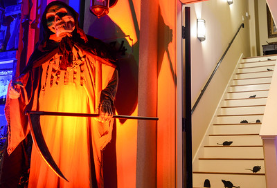 Condos are adorned with Halloween decorations on Hutchinson Street on Wednesday in Chico. (Matt Bates -- Enterprise-Record)