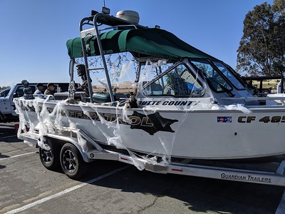 A Butte County Sheriff's Office patrol boat gets spooky at the third annual Trunk or Treat event Thursday in Oroville. (Jake Hutchison -- Enterprise-Record)