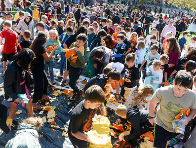 Kids swarm the drop zone to pick up pieces of pumpkins after the annual pumpkin drop at Chico State on Thursday, October 31, 2019, in Chico, Califronia. (Matt Bates -- Enterprise-Record)