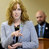 KEVIN HARVISON | Staff photo<br /> Julie Bisbee TSET Executive Director speaks with those attending the TSET's Pursuit of Wellness in Okalhoma presentation at the PIttsburg County Health Department Monday.