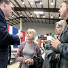 KEVIN HARVISON | Staff photo<br /> Oklahoma Governor Kevin Stitt speaks with concerned citizens after speaking at the McAlester Expo Center Thursday.