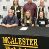 ADRIAN O'HANLON | Staff photo<br /> McAlester High School Senior Kate Faber signed a letter of intent to play softball at NEO.
