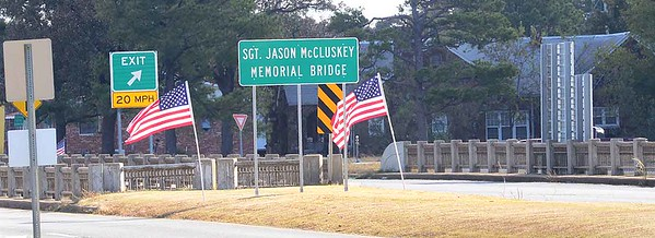 Pictured is the bridge being named over U.S. Highway 69 on U.S. Highway 270 in memory of Sgt. Jason McCluskey, who was killed in Action on Nov. 4, 2010.
