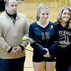 KEVIN HARVISON | Staff photo<br /> McAlester High School Volleyball senior Zoie Newman was honored during Thursday night game at Bob Brumley.