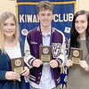 SUBMITTED PHOTO | <br /> Three seniors were recognized as Students of the Month for November by members of the Wilburton Kiwanis Club.  The students were special guests during the club's Wednesday, November 20 meeting held in the Student Life Center on the campus of Eastern Oklahoma State College. Rylan Brinlee is the daughter of Celia and Ryan Brinlee.  She attends Wilburton High School where she is a member of the Lady Digger softball team, band, and cheerleading squad.  She serves as captain for the cheerleading squad and section leader in band.  She was named to the EOBDA honor band (2017-2019).  In softball she was named All-State (2019), All-Area corner infielder (2018 & 2019), offensive MVP (2019), and defensive MVP (2018). Brinlee enjoys softball, cheer, band, drawing, painting, and helping her brother improve in school and sports. She plans to attend Murray State College on a softball scholarship and major in psychology. She then plans to transfer to a major university to complete her degree. Sheyenne Cheek is the daughter of Kimberly Cheek and Scott Cheek. She attends Wilburton High School where she is a member of the Lady Digger softball and basketball teams, FBLA, FCA, and National Honor Society.  She was a member of the district champion basketball team for 3 years, and district and regional champion softball team. She was named All-District MVP and All-State in softball.  She has also been listed to the superintendent's honor roll for 3 years. Cheek is a member of the Salt of the Earth Church and their youth group.  She volunteers at the food pantry, has assisted with donations for veterans, and raised money for the March of Dimes. She enjoys playing softball and basketball, and hanging out with friends and family.  She plans to attend Murray State College on a softball scholarship and pursue a degree in nursing.  She then plans to continue her education to pursue a degree in pediatric oncology. Hunter Donoley is the son of Diane and Tiger Donoley.  He attends Wilburton High School where he is a member of the Digger basketball, baseball, and cross-country teams, and FBLA. He has served as vice-president and parliamentarian for FBLA.  He was named MVP for baseball and was a member of the district champion basketball team for 3 years and regional consolation champion basketball team for 2 years.