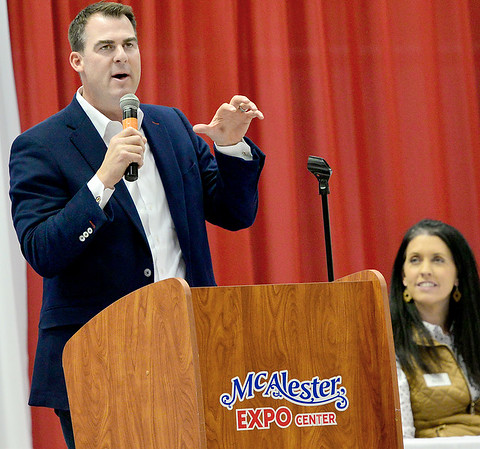 KEVIN HARVISON | Staff photo<br /> Oklahoma Governor Kevin Stitt speaks to the crowd at the McAlester Expo Center Thursday.
