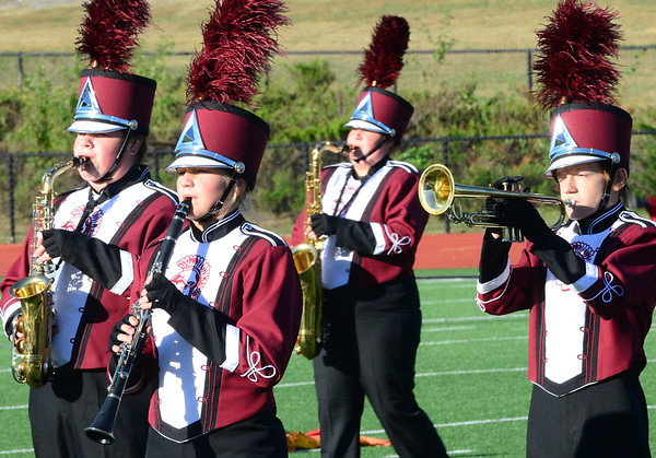 KEVIN HARVISON | Staff photo<br /> Eufaula High School Marching Band performs at Hook Eales Stadium Wednesday during OSSSA Small School band competition.