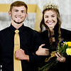 KEVIN HARVISON | Staff photo<br /> Logan Gearheart, left escorts the McAlester High School Homecoming Queen Sarina Kirkhart Friday during Homecoming ceremonies.