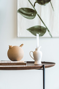 UNC object Gallus large + UNC candle holder Douro + UNC Wall deco Leafs + UNC Coffee table with serving tray Fez