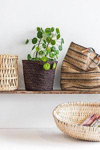 UNC basket Banana leaf, M + UNC basket Corn slate black + UNC basket low hazelnut + UNC Shopper bag Jute Sakiori