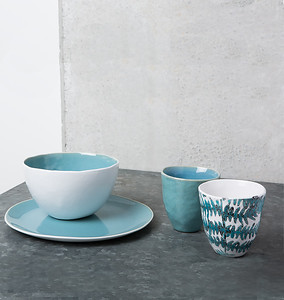 UNC Urban Nomad Ocean Blue Bowl, Breakfast Plate and Mugs