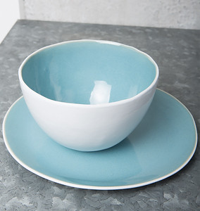 UNC Urban Nomad Ocean Blue Bowl and Breakfast Plate