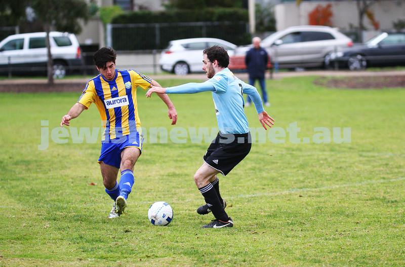 4-5-14. Soccer. North Caulfield Maccabi lost to Beaumaris 1-3. Caulfield Park. Photo: Peter Haskin