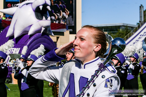 Drum Major Elisabeth Sladek Salutes