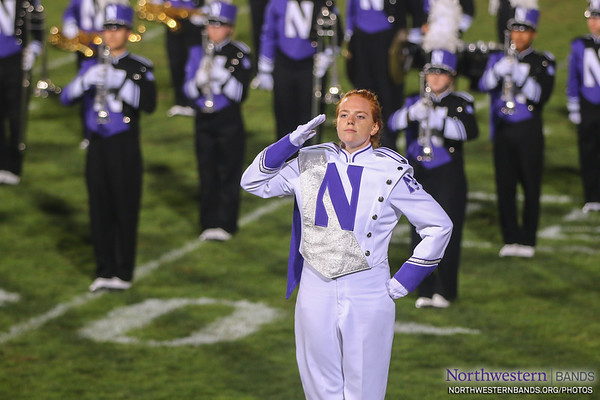 Drum Major Amanda Hermans Salutes