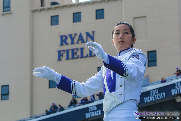 Drum Major Angela Yang Conducts at #NUhomecoming