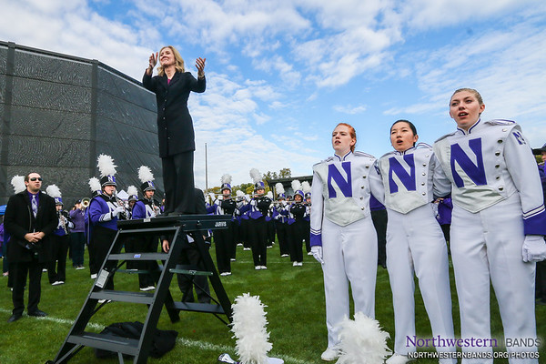 Director of Bands Dr. Mallory Thompson Conducts the University Hymn at #NUhomecoming