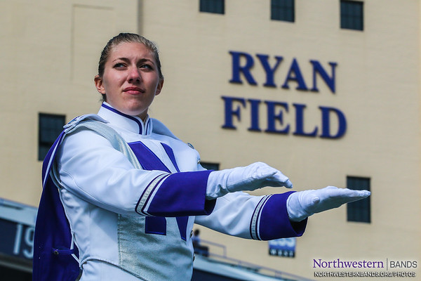 Drum Major Allison Grant Conducts at Ryan Field