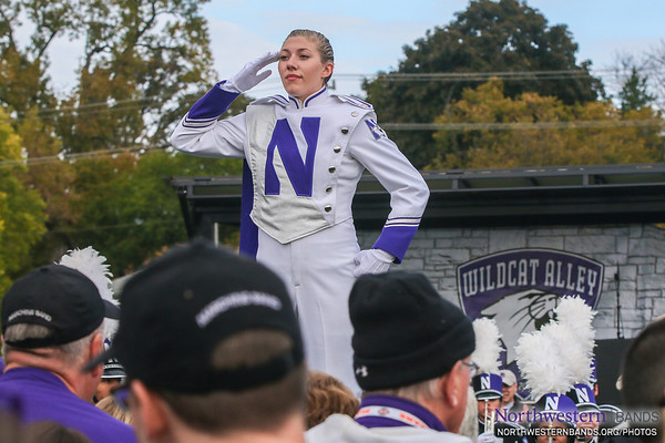 Allison Grant Salutes the #NUhomecoming Crowd at Wildcat Alley