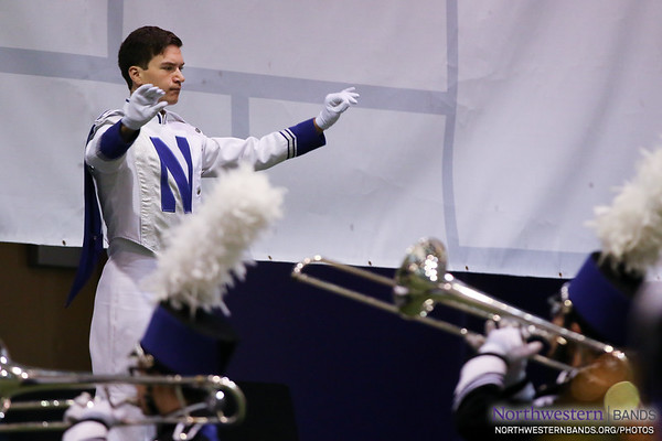 Drum Major Nicholas Pecora Rehearses the Wildcat Band