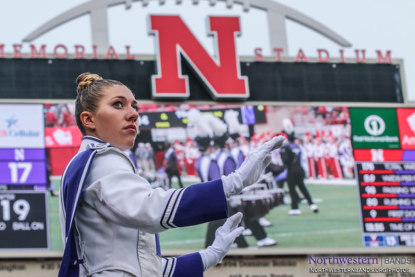 Drum Major Allison Grant Conducts at @UNLincoln's Memorial Stadium