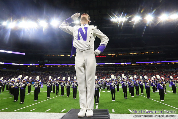 Drum Major Nicholas Pecora Salutes the #B1G Crowd