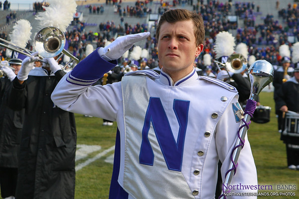 Drum Major Ethan Reiss Gives a #NUSeniorDay Salute