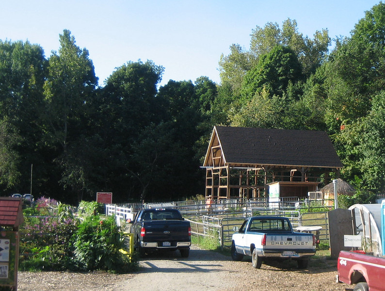 Sept 29, 2007. As I drove down Jones Ferry Road at 8:30am (on my way to the River Cleanup before the Festival), the sun was shining on the front of the new (recycled from old) barn. Later that day I walked in for a closer look... (next photo)