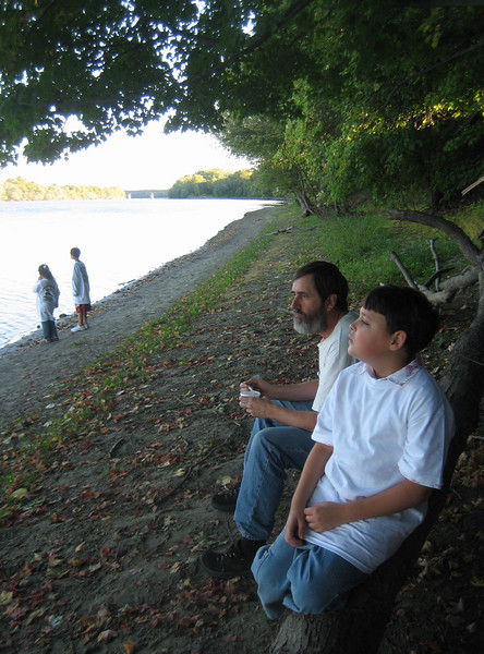 We followed some children through the woods on a path down to the Connecticut River. Great place to sit on a log, enjoy the peaceful view, and eat our ice cream